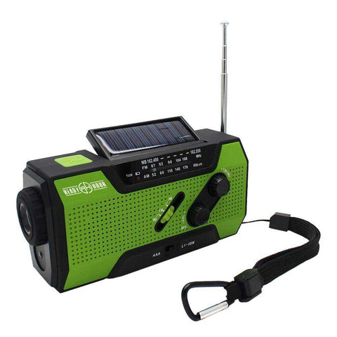 4-in-1 Emergency Solar Flashlight & AM/FM/Weather Radio w/ Hand Crank by Ready Hour - Camping Survival