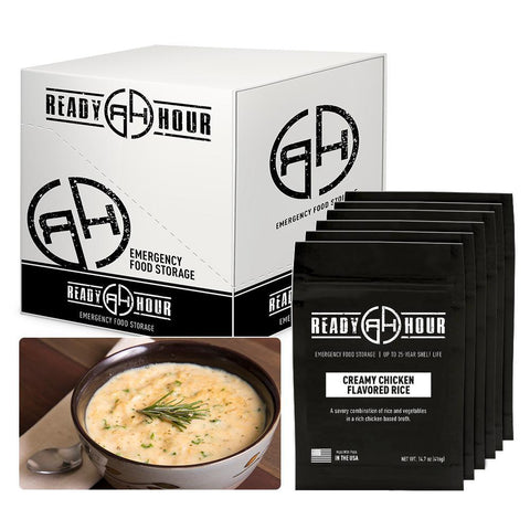Ready Hour Creamy Chicken Flavored Rice Case Pack (24 servings 6 pk.) camping survival