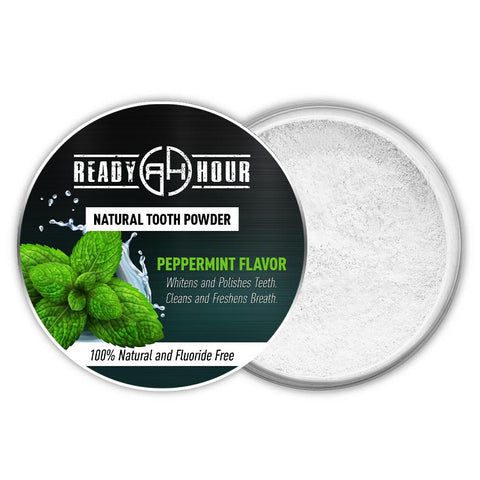 Ready Hour Natural Tooth Powder - Mint Flavor (1 ounce) camping survival