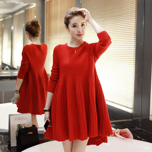 Autumn Winter Hight Quality Long Sleeve Pleated Knitting Dress