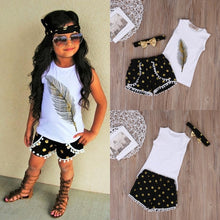 3-Pieces/Set Summer Feather Vest Tops, Shorts & Headband Toddler Girls