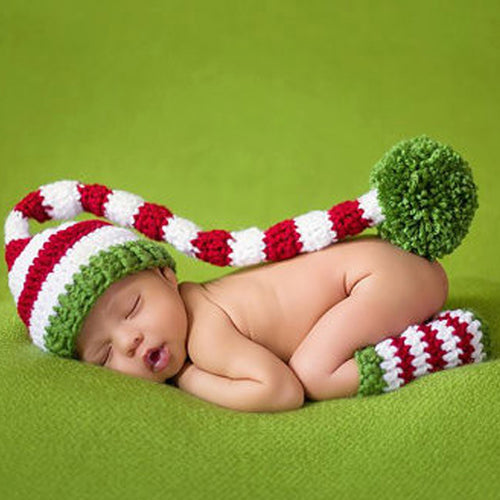 Baby Boys Infant Hat & Shoes Crochet Knitted Costume Outfit For Photography Props