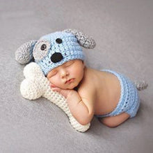Newborn Baby Costume Dog Hat With White Bone Knitted Beanies Set For Photography Props