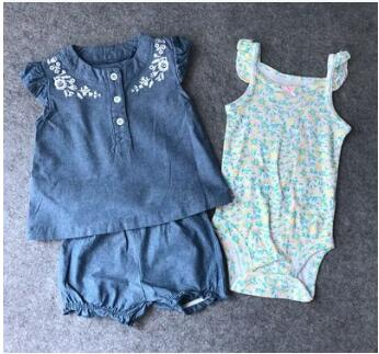 100% Cotton Bodysuit, Short & Shirt 3pcs/Set