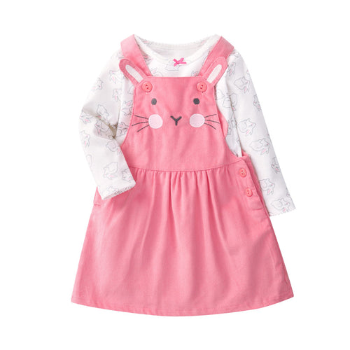 2-Piece Set Pink Cartoon Rabbit  Long Sleeve T shirt  & Dresses