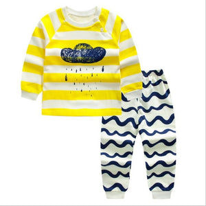 Baby Boy Wave Line Soft Cotton Pajamas