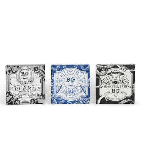 All-Natural & Antibacterial Soap Set- Beard, Body & Shaving Beard Set Mr Brains and Brawn