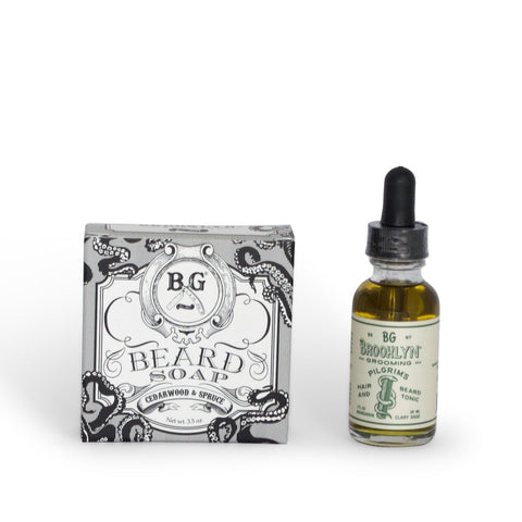 Organic Nourishing Beard Care Kit - Beard Soap & Beard Tonic Beard Set Mr Brains and Brawn