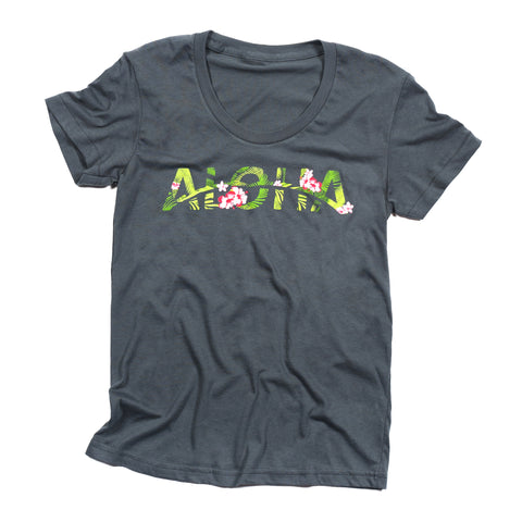 WOMEN'S HIBISCUS TEE - GRAY