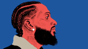 Side view of Nipsey Hussle in red with a blue background
