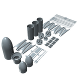 SpaceX Falcon Heavy 3d Rendering model kit parts
