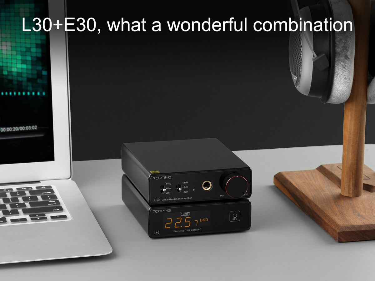 TOPPING L30 headphone amplifier on top of black E30 DAC