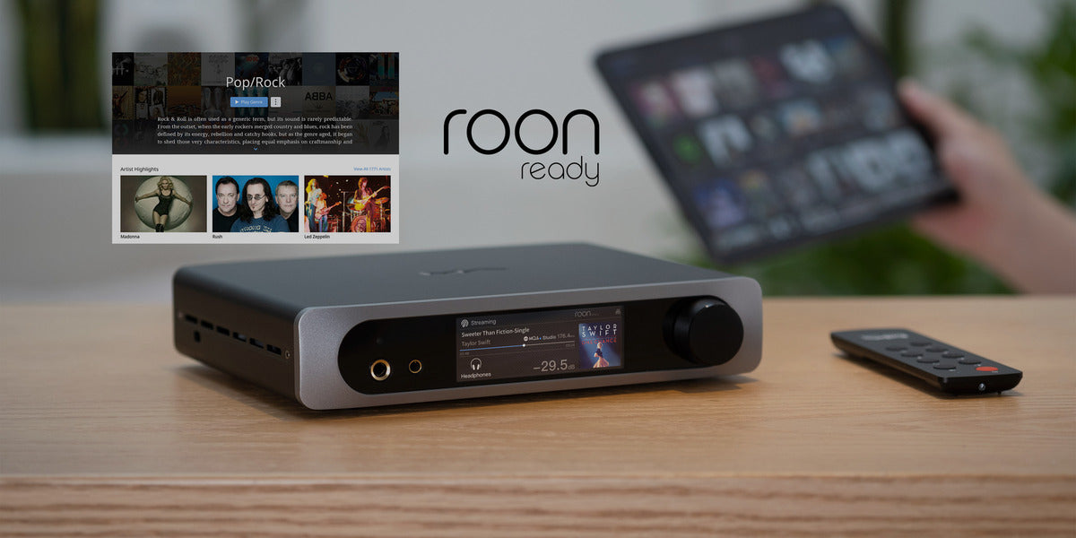 Mini-i 3 Pro on wooden table and Roon ready logo