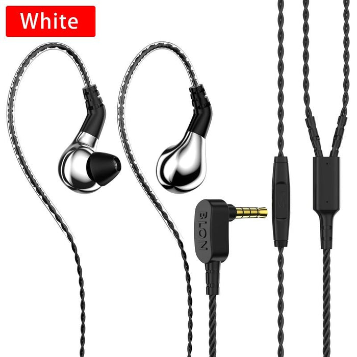 BLON BL-03 HiFi 10mm Carbon Diaphragm Dynamic Driver in-Ear Earphone IEM HiFiGo silver with mic
