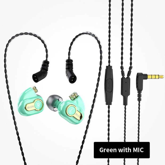 BLON BL-05s BL05s 3rd Generation 10mm Upgraded Carbon Diaphragm In Ear Earphone HiFiGo Green with mic