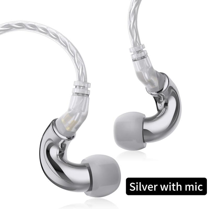 BLON BL mini 6mm Dynamic Driver In Ear Earphone IEM HiFiGo Silver with mic