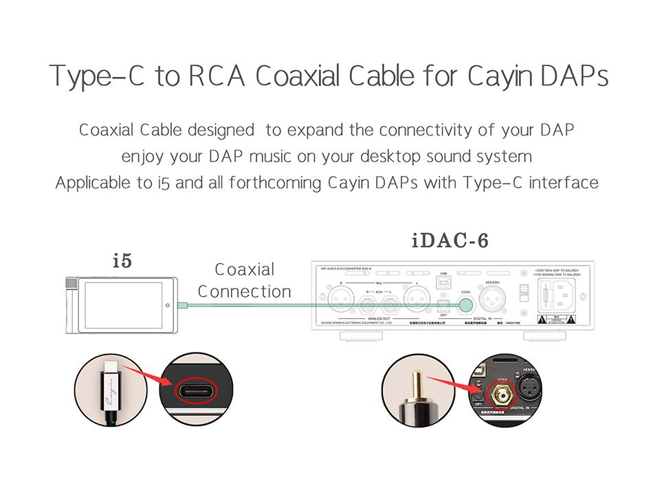 Cayin CS-30TCR USB Type-C to RCA Coaxial Cable Audio Cable HiFiGo