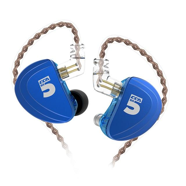 CCA A10 5BA In Ear Earphone 5 Balanced Armature HIFI IEM 2PIN Cable HiFiGo blue no mic