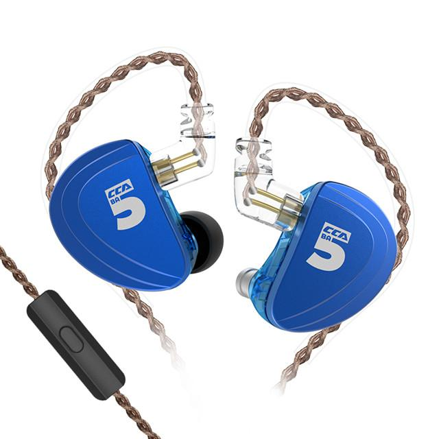 CCA A10 5BA In Ear Earphone 5 Balanced Armature HIFI IEM 2PIN Cable HiFiGo blue with mic