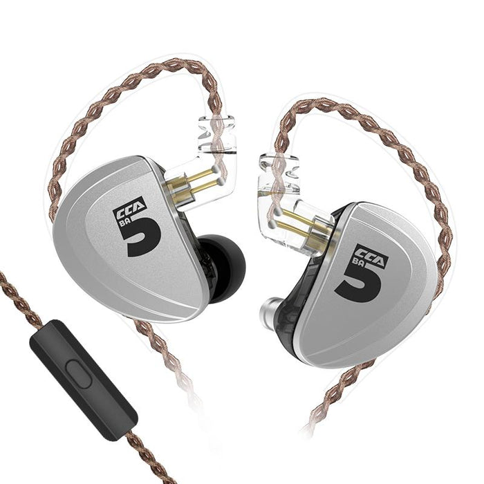 CCA A10 5BA In Ear Earphone 5 Balanced Armature HIFI IEM 2PIN Cable HiFiGo silver with mic