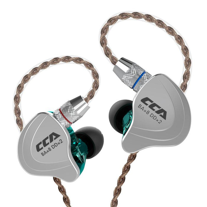 CCA C10 4BA+1DD Hybrid In Ear Earphone HiFiGo cyan no mic