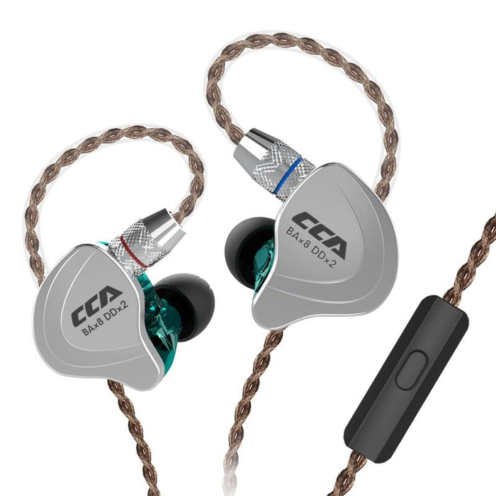 CCA C10 4BA+1DD Hybrid In Ear Earphone HiFiGo cyan with mic