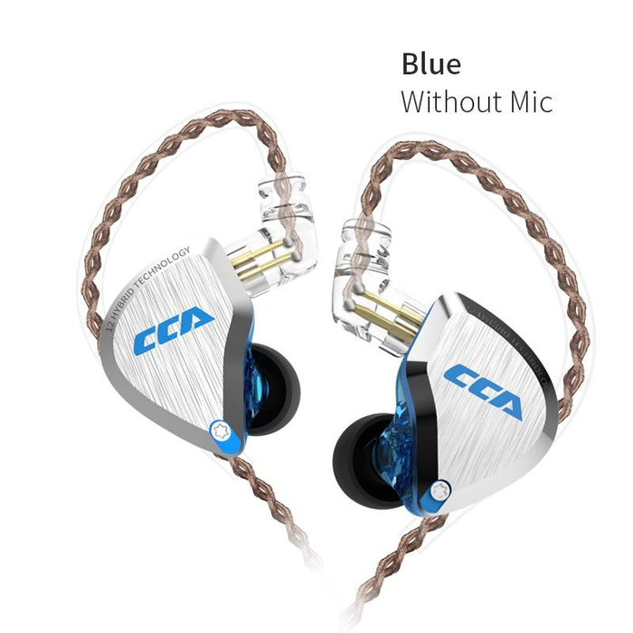 CCA C12 5BA+1DD Hybrid In Ear Earphone 6 Driver Unit HIFI IEM HiFiGo Blue no mic
