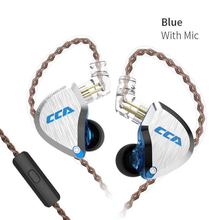 CCA C12 5BA+1DD Hybrid In Ear Earphone 6 Driver Unit HIFI IEM HiFiGo Blue with mic