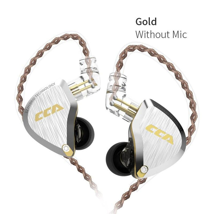 CCA C12 5BA+1DD Hybrid In Ear Earphone 6 Driver Unit HIFI IEM HiFiGo Gold no mic