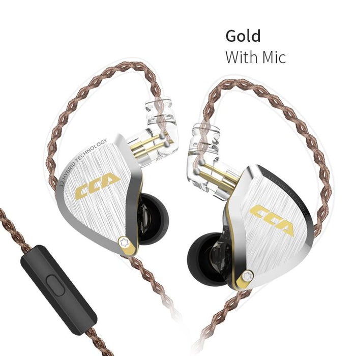 CCA C12 5BA+1DD Hybrid In Ear Earphone 6 Driver Unit HIFI IEM HiFiGo Gold with mic