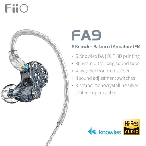Fiio FA9 6 Balanced Armatures 3D Printing Flagship In-Ear Earphones IEMs HiFiGo