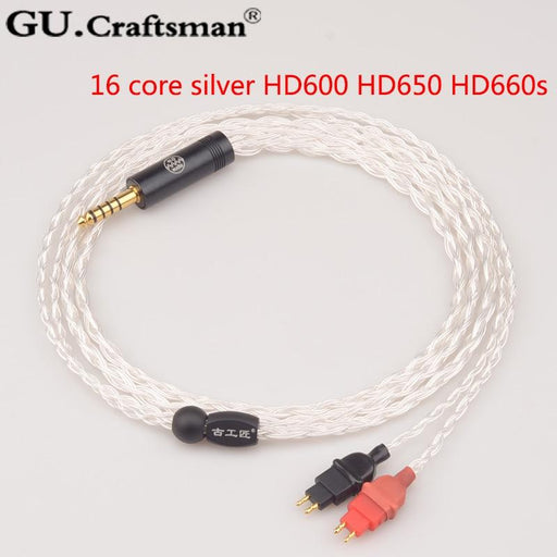 GUCraftsman 2.5/4.4mm Balance 16 core silver 4Pin XLR hd600 hd650 hd660s Headphone cables HiFiGo