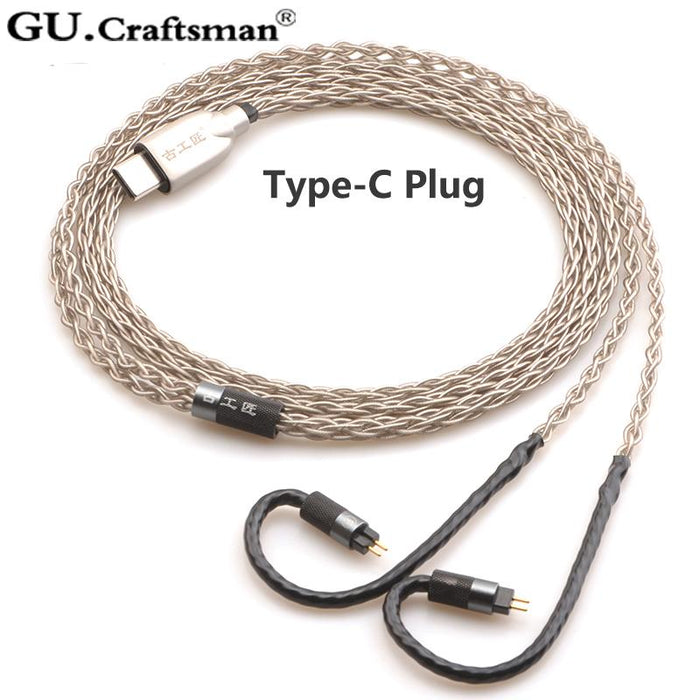 GUCraftsman 6n Silver 0.78mm 2Pin In Ear Earphone Upgrade Cable HiFiGo