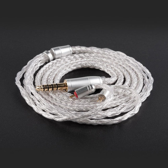 KB EAR 16 Core Silver Earphone IEM Cable with Metal 2pin/MMCX/QDC HiFiGo 2 pin 4.4mm
