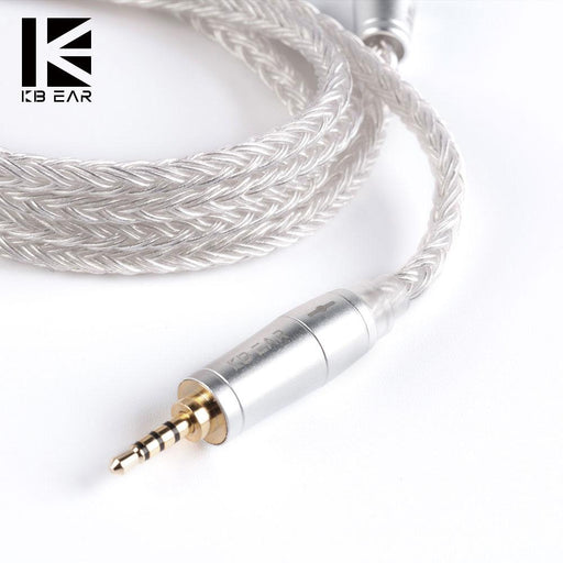 KB EAR 16 Core Silver Earphone IEM Cable with Metal 2pin/MMCX/QDC HiFiGo