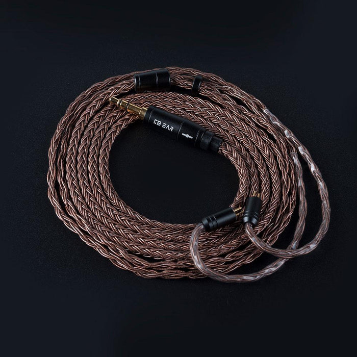 KBEAR 16 Core Pure cCopper cable with metal 2pin/MMCX/QDC Connector HiFiGo 2 pin 3.5mm