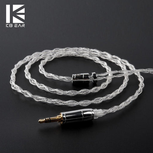 KBEAR 4 Core 4N 99.99% Purity Silver Earphone Cable with 2Pin/QDC/MMC/TFZ HiFiGo