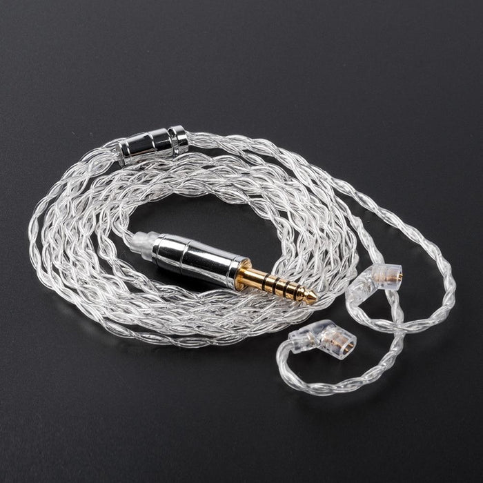 KBEAR 4 Core 4N 99.99% Purity Silver Earphone Cable with 2Pin/QDC/MMC/TFZ HiFiGo QDC 4.4mm