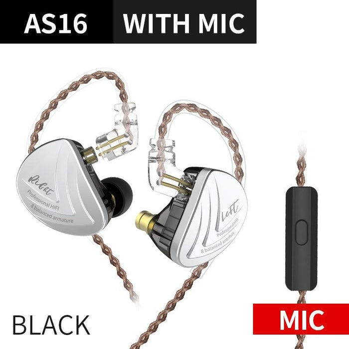 KZ AS16 16BA Balanced Armature Units HIFI Bass In Ear Monitor Earphones HiFiGo Black Mic