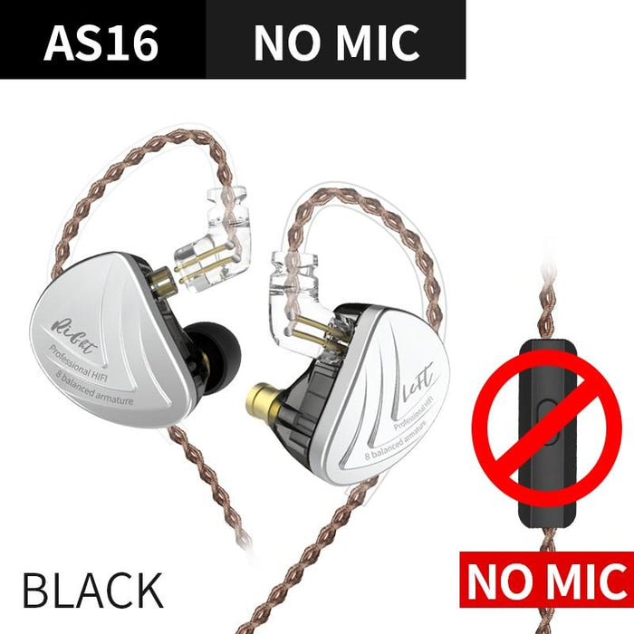 KZ AS16 16BA Balanced Armature Units HIFI Bass In Ear Monitor Earphones HiFiGo Black No Mic