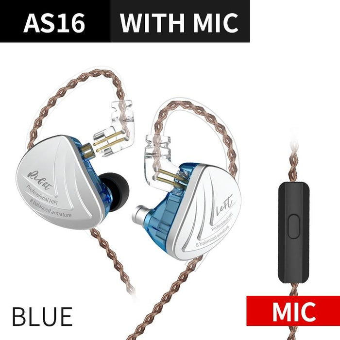 KZ AS16 16BA Balanced Armature Units HIFI Bass In Ear Monitor Earphones HiFiGo Blue Mic