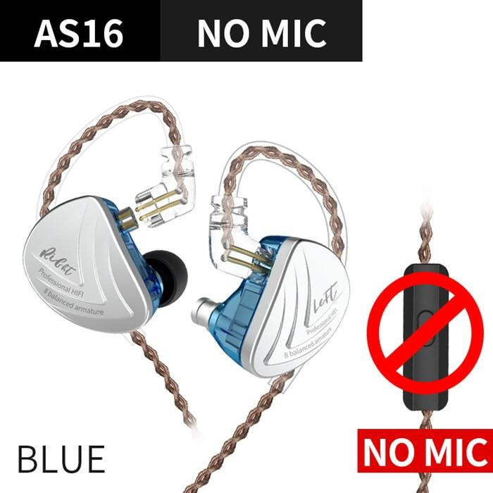 KZ AS16 16BA Balanced Armature Units HIFI Bass In Ear Monitor Earphones HiFiGo Blue No Mic