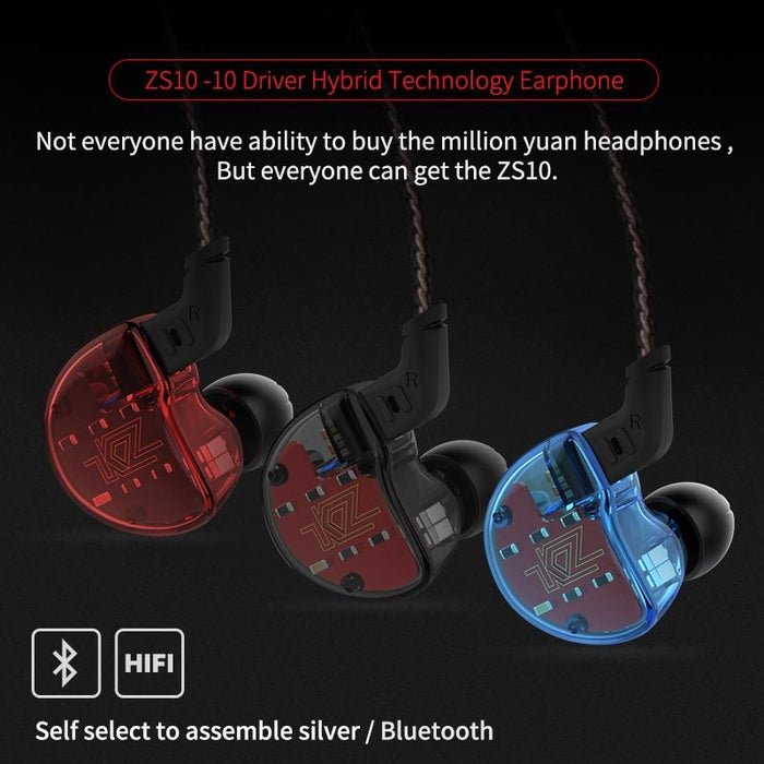 KZ ZS10 Earphones In Ear Headphone HIFI Bass Headset Earbuds HiFiGo