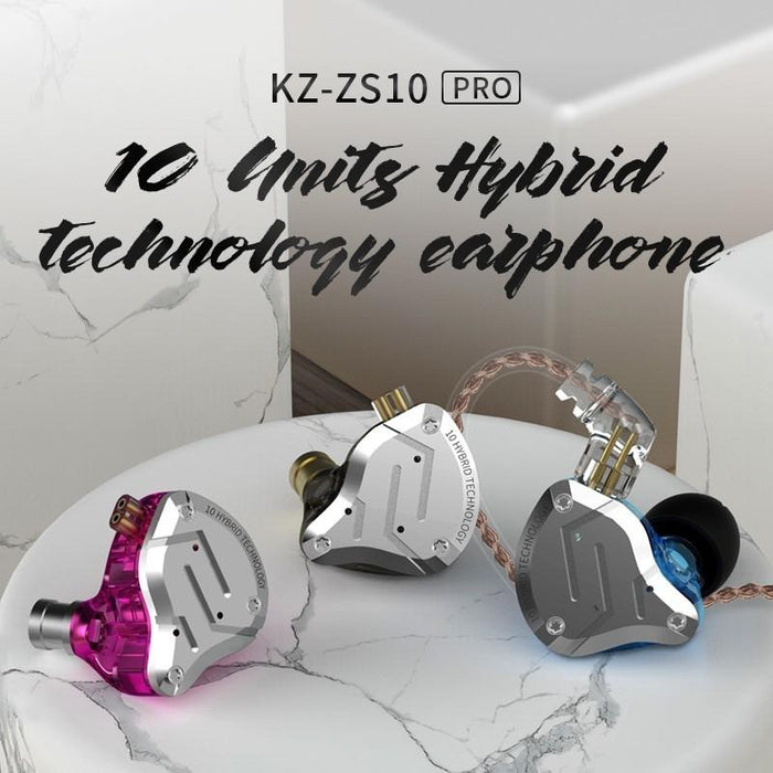 KZ ZS10 Pro Aptx HD Cable In Ear Hybrid 4BA+1DD Hifi Bass Earphones HiFiGo