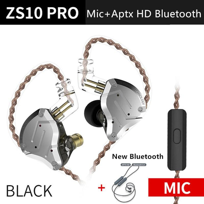 KZ ZS10 Pro Aptx HD Cable In Ear Hybrid 4BA+1DD Hifi Bass Earphones HiFiGo BlackMicAptxHDblueto