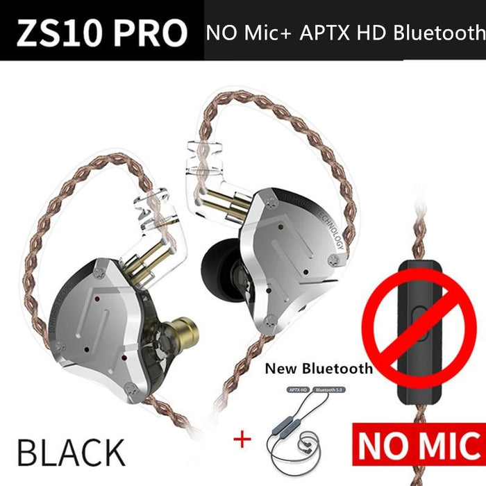 KZ ZS10 Pro Aptx HD Cable In Ear Hybrid 4BA+1DD Hifi Bass Earphones HiFiGo BlackNoMicAptxHD