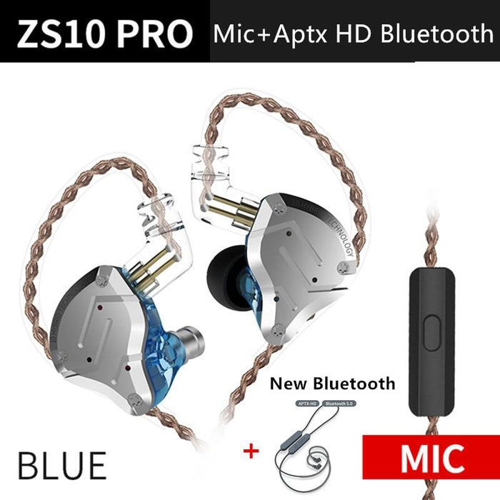 KZ ZS10 Pro Aptx HD Cable In Ear Hybrid 4BA+1DD Hifi Bass Earphones HiFiGo BlueMicAptxHDbluetoo