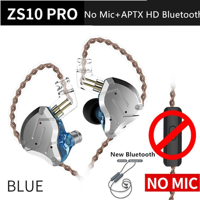 KZ ZS10 Pro Aptx HD Cable In Ear Hybrid 4BA+1DD Hifi Bass Earphones HiFiGo BlueNoMicAptxHDbluet