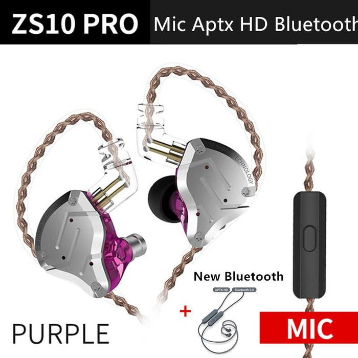 KZ ZS10 Pro Aptx HD Cable In Ear Hybrid 4BA+1DD Hifi Bass Earphones HiFiGo PurpleMicAPtxHDbluet
