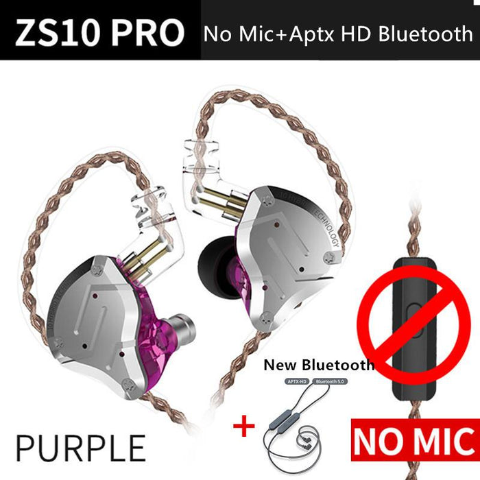 KZ ZS10 Pro Aptx HD Cable In Ear Hybrid 4BA+1DD Hifi Bass Earphones HiFiGo PurpleNoMicAPtxHDblu